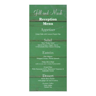 Vintage Rustic Green Barn Wood Reception Menu Card