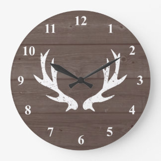 Vintage rustic hunting deer antler wood wall clock
