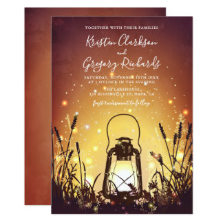 Vintage Rustic Lantern and Fireflies Wedding Card