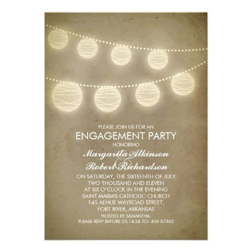 vintage rustic lanterns engagement party invitations