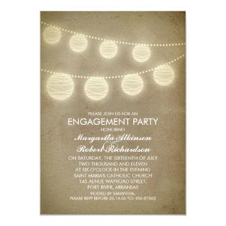 vintage rustic lanterns engagement party invitations