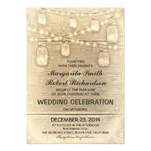 vintage rustic mason jars and light wedding invites