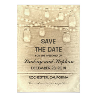 vintage rustic mason jars save the date card