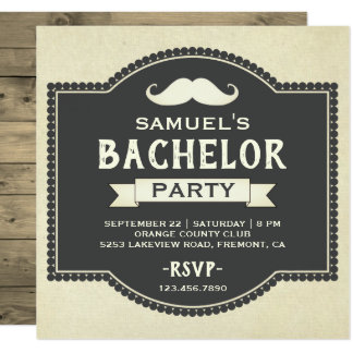 Vintage Rustic Mustache Bachelor Party Invitation