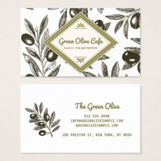 Vintage Rustic Olive Branches Illustration Cafe Business Card