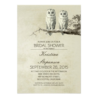 Vintage rustic OWL couple bridal shower invitation