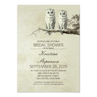 "Vintage rustic OWL couple bridal shower invitation 5"" X 7"" Invitation Card"