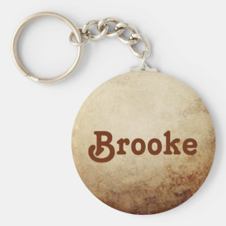 Vintage Rustic Paper Texture Rust Brown Key Ring