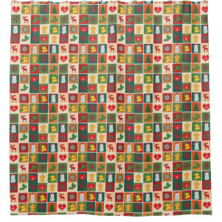 Vintage Rustic Patchwork Christmas Shower Curtain