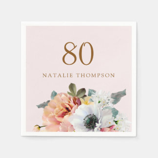 Vintage Rustic Peach Flower 80th Birthday Party Disposable Serviettes