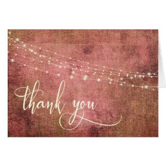 Vintage Rustic Pink & Burlap w Lights 3b Thank You Card