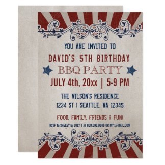 Vintage Rustic Red and Blue Memorial Day Birthday Card