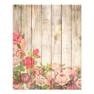 Vintage Rustic Romantic Roses Wood 11.5 Cm X 14 Cm Flyer