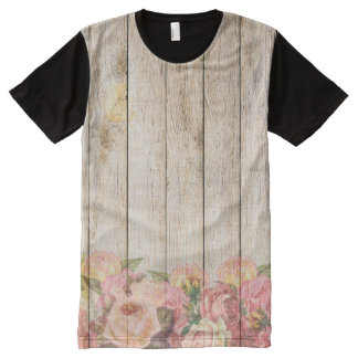 Vintage Rustic Romantic Roses Wood All-Over Print T-Shirt