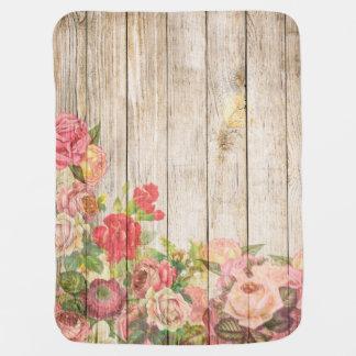 Vintage Rustic Romantic Roses Wood Baby Blanket