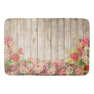 Vintage Rustic Romantic Roses Wood Bath Mats