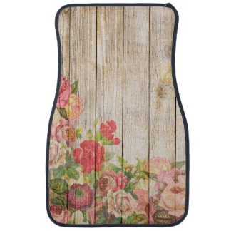 Vintage Rustic Romantic Roses Wood Car Mat
