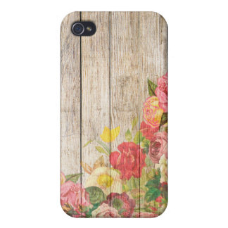 Vintage Rustic Romantic Roses Wood Case For iPhone 4
