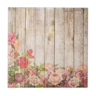 Vintage Rustic Romantic Roses Wood Ceramic Tile