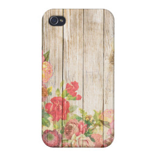 Vintage Rustic Romantic Roses Wood Cover For iPhone 4