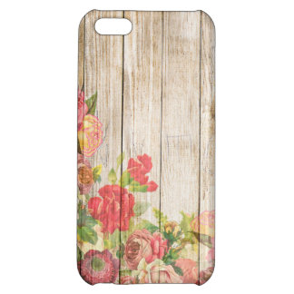 Vintage Rustic Romantic Roses Wood Cover For iPhone 5C
