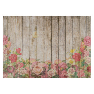 Vintage Rustic Romantic Roses Wood Cutting Board