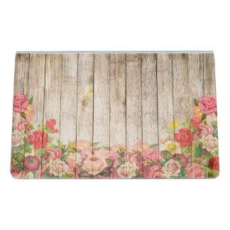 Vintage Rustic Romantic Roses Wood Desk Business Card Holder