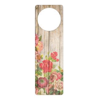 Vintage Rustic Romantic Roses Wood Door Hanger