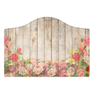 Vintage Rustic Romantic Roses Wood Door Sign