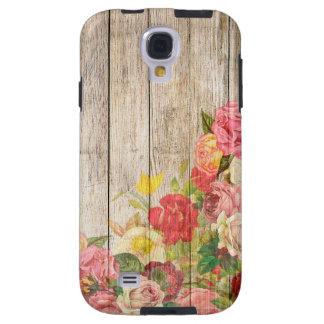 Vintage Rustic Romantic Roses Wood Galaxy S4 Case
