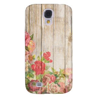 Vintage Rustic Romantic Roses Wood Galaxy S4 Cover