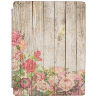 Vintage Rustic Romantic Roses Wood iPad Cover