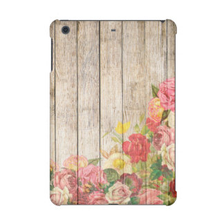 Vintage Rustic Romantic Roses Wood iPad Mini Retina Cover