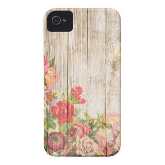 Vintage Rustic Romantic Roses Wood iPhone 4 Cover