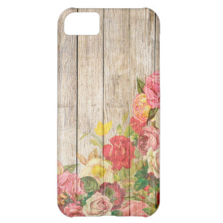 Vintage Rustic Romantic Roses Wood iPhone 5C Case