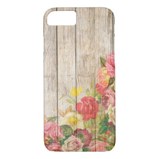 Vintage Rustic Romantic Roses Wood iPhone 8/7 Case