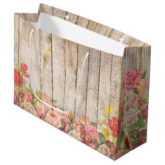 Vintage Rustic Romantic Roses Wood Large Gift Bag