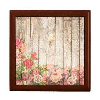 Vintage Rustic Romantic Roses Wood Large Square Gift Box