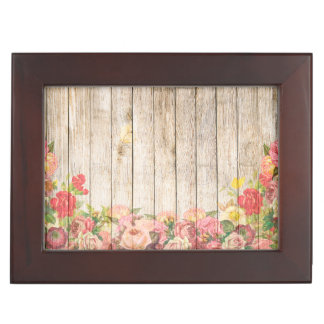 Vintage Rustic Romantic Roses Wood Memory Boxes