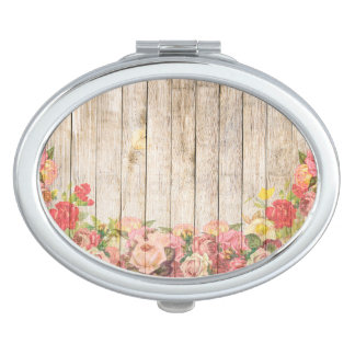 Vintage Rustic Romantic Roses Wood Mirrors For Makeup