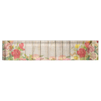 Vintage Rustic Romantic Roses Wood Name Plate