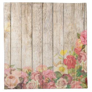 Vintage Rustic Romantic Roses Wood Napkin