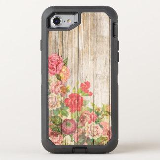 Vintage Rustic Romantic Roses Wood OtterBox Defender iPhone 8/7 Case