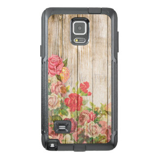 Vintage Rustic Romantic Roses Wood OtterBox Samsung Note 4 Case