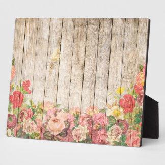 Vintage Rustic Romantic Roses Wood Plaque