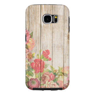 Vintage Rustic Romantic Roses Wood Samsung Galaxy S6 Cases