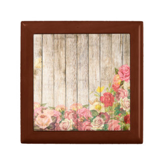 Vintage Rustic Romantic Roses Wood Small Square Gift Box