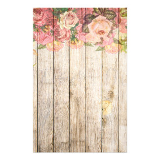 Vintage Rustic Romantic Roses Wood Stationery
