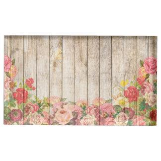 Vintage Rustic Romantic Roses Wood Table Card Holders
