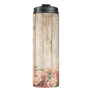 Vintage Rustic Romantic Roses Wood Thermal Tumbler
